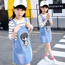 Wholesale Korean Jeans Skirts - Big girl jeans straps skirt two sets Korean print little girl straps skirt 2017 new children's clothes
