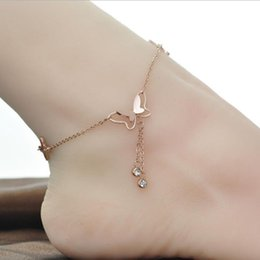 stainless steel sandals Promo Codes - Women Stainless Steel Zircon Butterfly Anklet Rose Gold Double Chains Bowknot Snowflake Pendant Foot Bracelet Summer Beach Barefoot Sandals