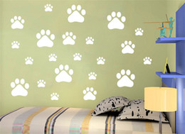 Wholesale Cartoon Dog Wall Decals - Wholesale-1pcs fashion 3D cute dog footprint sticker Carved hollow child bedroom room Removable Decorating Sticker Decor Cartoon 2017