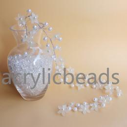 Ramo de pérola branca on-line-1 M Plástico Fosco Flor Beads Garland Spray E Branco Rodada Pérola Acrílico Frisado Com Fio Ramos Wedding Tablepieces