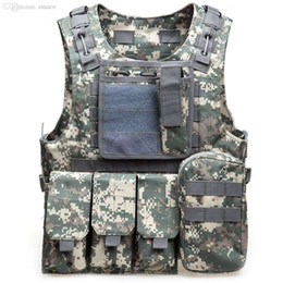 Wholesale Military Tactical Assault Vest - Wholesale-Outdoor CS Military Tactical Army Hunting Vest 600D Oxford Molle Waistcoat Combat Assault Plate Carrier Vest CS Game Accessory