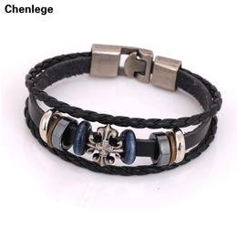 Wholesale Vintage Friendship - Wholesale- cross bracelet handmade bangles leather bracelet unisex women or men charm vintage friendship jewelry wrap free shipping