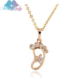 Wholesale Baby Feet Jewelry - Wholesale-2016 New Rose Gold Plated Zircon Cute Little Baby Foot feet footprint Necklaces & Pendants Fashion statement Jewelry for women