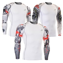 Wholesale Mma Skin - Wholesale- Men Compression Shirts MMA Rashguard Keep Fit Fitness Long Sleeves Base Layer Skin Tight Weight Lifting Elastic Mens T Shirts