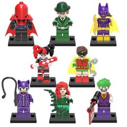 Wholesale Batgirl Figure - 8pcs set Super Heroes Building Blocks Mini Joker Bat Man Batgirl Figures Toys For Children Toy Kids Christmas Gifts Bricks