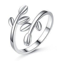 Wholesale Ring Adjustable Brass - 925 Sterling Silver Leaves Ring The Olive Branch Women Ring Opening Adjustable Ring 2017 Newest Fashion Jewelry