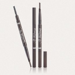 Wholesale Refill Brush - South Korea's raw material extrusion refills with brush automatic rotary double head eyebrow pencil, new triangular eyebrow pencil