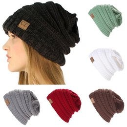 Wholesale Thick Knit Wholesale Beanies - CC Beanie 11 Colors Chucky Stretch Cable Adults Kids Knit Slouch Skully Ski Hat Oversized Thick Cap 15pcs OOA3088