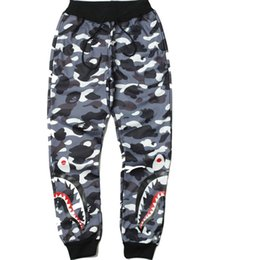 Wholesale Mens Cotton Camouflage Pants - KANYE west high quality mens bottom jogger pants camo camouflage hippie work hip hop shark trousers swag sweatpants brand clothing