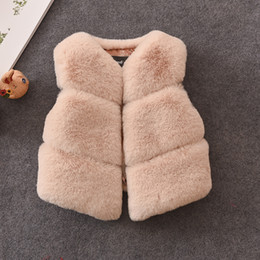 Wholesale Toddler Girls Coats Jackets - Everweekend Toddlers Girls Baby Autumn Winter Waistcoat Faxu Fur Coats Kids Muti-color Colorful Fabric Fur Clothes Fur Vest