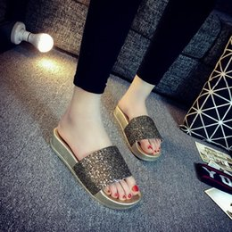 Wholesale Thick Soled Flip Flops - Wholesale-New Summer Blowing Slippers Slope With Thick Soles Muffin Sandals Leisure Gladiator Household Women's Slippers Beach Sandals