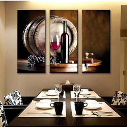Wholesale Canvas Wine Decor - 3pcs set Unframed Table Wine Elegant Design Oil Painting On Canvas Giclee Wall Art Painting Art Picture For Home Decor
