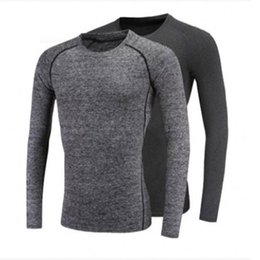 Wholesale Black Men Winter Shirt - Autumn and winter outdoor sports men long - sleeved sports quick - drying. Tight fit fitness suit T-shirt. Has a strong elasticity, you dese