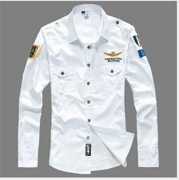 Wholesale Military Uniform Army Black - Fashion Air force one Uniform Military Long Sleeve Slim Fit Shirts Men's Cotton MA1 Shirt Camisa Masculina Embroidered Korean pilot plus 4XL