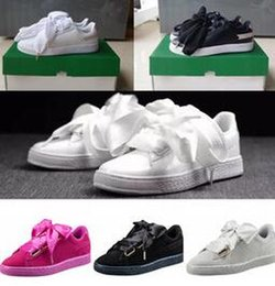 Wholesale Good Chocolates - 2018 With 16colors good shoes bowknot Suede Basket Heart satin fenty rihanna Creeper Skate shoes running shoes.kids SIZE 36-40