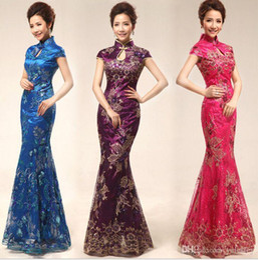 Wholesale Polyester Silk Dresses - Hot sale Slim Chinese Cheongsam dress Embroidery print dress Retro wedding etiquette cheongsam Hospitality etiquette clothing