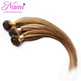 Wholesale Brown Hair Extensions Highlights - Wholesale- Piano Color #8 613 Mixed Color Brazilian Straight Remy Human Hair Extensions Highlight Brown And Blonde 3pcs Lot Free Shipping