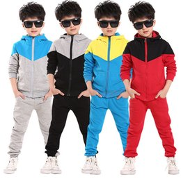 Wholesale Korean Suit For Kids - Kids Clothes Boys 2017 Baby Boys Spring Autumn Hoodied Coats And Jackets Pants Set Korean Fashion Children Clothing Sports Suit For Boy
