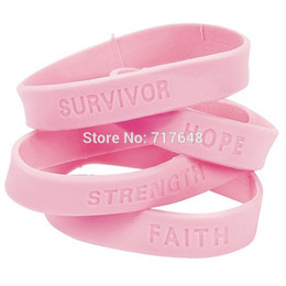 Wholesale Silicone Breast Cancer Bracelets Wholesale - Wholesale- 300pcs Fun Express Breast Cancer Awareness wristband silicone bracelets free shipping by FEDEX express