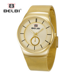 Wholesale Thinnest Waterproof Mens Watch - BELBI Business Mens Wristwatches AAA Ultra-thin Steel Simple Dial Design for Luxury Waterproof Male Japanese Quartz Watches Brand