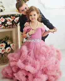 Wholesale Tulle Wedding Belt Shoulder - Custom Made Girls Pageant Dresses Off Shoulder Puffy Tutu Crystals Belt Ruffle 2017 Long Formal Flower Girl Dresses for Wedding Party Zipper