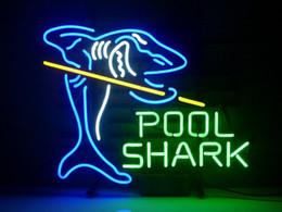 Billard néon en Ligne-Fashion Handcraft Pool Shark Billiards Verre Verre Bière Bar Pub Affiche néon 19x15 !!! Meilleure offre!