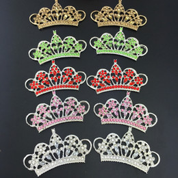 Wholesale Rhinestone Crown Embellishment - Rhinestone Button Embellishment Crystal Tiara Crown Bridal Wedding Brooch Hair Comb Pin