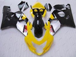 Wholesale Gsxr Black Yellow - Plastic Fairings for Suzuki GSXR750 04 Fairing Kits GSX R750 2005 Yellow Black ABS Fairing GSXR 750 2004 2004 - 2005 K4