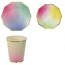 2019 platos de horno de cerámica Al por mayor- Colorido Platos de papel de la cena taza Fuente de fiesta Lámina Pastel Pastel festoneado Decoración de fiesta Suministros Vajilla CP135
