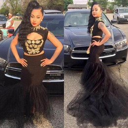 two piece african dresses Coupons - Hot Two Pieces Black Mermaid Prom Dresses Keyhole High Neck Gold Appliques Ruched Tulle Long African Americans Party Gowns Evening