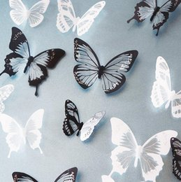 Wholesale Art For White Walls - 18PCS Black White Crystal Butterfly Sticker Art Decal Home Decor Wall Mural Stickers DIY Decal Christmas Wedding Decoration Gift
