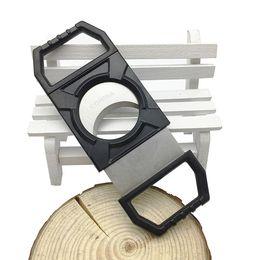 Cuchillos de bajo precio online-Precio bajo bolsillo portátil cortador de cigarros de plástico y acero inoxidable dos cuchillas cuchillo de puros buenos regalos cuchillo cortador tijeras de fumar