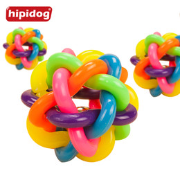 Wholesale Cat Poodle - Hipidog Squeak Dog Chew Toy Colorful Ball Pet Dog Cat Toy with Bell for Small Medium Large Dog Chihuahua Yorkshire Poodle Pets