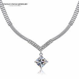 Wholesale V Shape Gold Necklace - Beautiful!!! White Gold Color Sparkly Zirconia V-shaped Design Wedding Woman Necklace Wholesale
