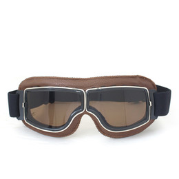 Wholesale Brown Scooters - 2017 High quality NEW WWII Vintage Harley style motorcycle gafas motocross moto goggles Scooter Goggle Glasses Aviator Pilot Cruiser T13