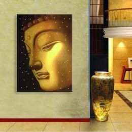 Führte gemälde online-LED-Leuchten Wand Kunst Leinwand Gemälde leuchten gestreckt und gerahmte Kunstwerk, kostenloser Versand Leinwand Druck Buddha Wohnkultur