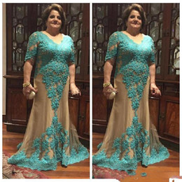 Wholesale Teal Mermaid - Teal V Neck Mother Prom Dresses Plus Size Lace Appliques Mermaid Evening Gowns Half Long Sleeves Champagne Tulle Formal Party Vestidos