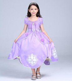 Wholesale Girls Short Fancy Dress - Kids Clothing Flower Dresses Girls Princess Fancy Dress Costume Party Outfit Cosplay Dress For Girl Top Quality Purple Dress Best Gifts