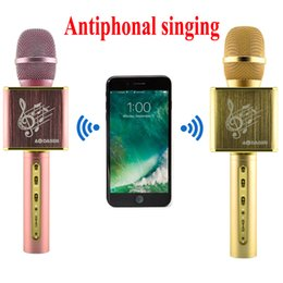 Wholesale Phone Mixer - JY-50 Antiphonal Sing Karaoke Microphone Metal Handheld Bluetooth Wireless Music Speaker With Echo Mixer For iPhone Android Phone