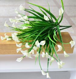 Wholesale Silk Calla Lily Bouquets - Wholesale- 25 heads bouquet mini artificial calla leaf silk fake flower lily plastic Aquatic plants home decoration