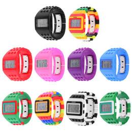 Wholesale Shhors Digital - Hot sale fashion SHHORS Digital Watch Night Light Waterproof Plastic Jelly Candy Rainbow Watches stopwatch timer function