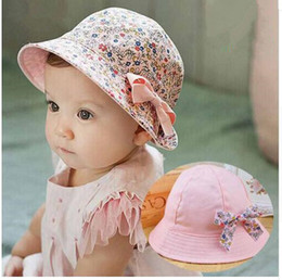 Wholesale Kids Cotton Sun Visors - Summer Hat Baby Bowknot Floral Flower Fisherman Cotton Kids Girls Cap Sun Bucket Hats Double Sided 2017 Baby Best Gifts Free Shipping