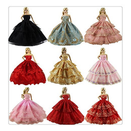 Wholesale Handmade Clothes For Girls - 2017 New Hot 6PCS Lot Dolls Clothes Fashion Handmade Clothes Dress Wedding Dress Party Dress For Barbie Doll XMAS Gift Style Color Random