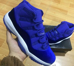 Wholesale Brown Velvet Fabric - 2017 New Cheap Womens mens air 11 red blue Black Velvet Heiress Basketball Shoes Sneakers for mens Outdoor Sports Shoes