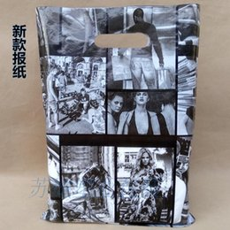 Wholesale Newspaper Gift Bags - 100pcs Black Newspaper Plastic Jewelry Gift Bag 25*35cm Movie Plastic Bags