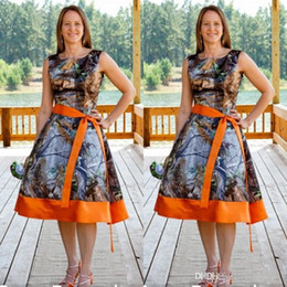 Wholesale Prom Gowns Designs - 2017 New Design Camo Bridesmaid Dresses Orange Square Neck Sleeveless Ribbon Sash A Line Knee Length Wedding Party Prom Bridesmaids Gowns