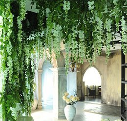 Wholesale Wholesale Artificial Plants Ivy - 1 pcs 90cm cheap Artificial Ivy Leaf Artificial Plants Green Garland Plants Vine Fake Foliage Home Decoration Wedding Decoration