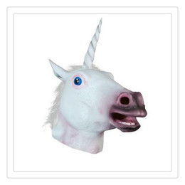 rubber latex costumes Promo Codes - Horse Latex Mask Horse Unicorn Mask Collection Halloween Costume Theater Prop Novelty Latex Rubber Party Costume Decorations Free Shipping