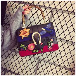 Wholesale Bamboo Bird - 2017 fashion embroidered bag women famous brands designer flower bird bag bamboo shopper shoulder crossbody bags