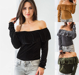 Wholesale Trendy Black Fashion Blouse - New Trendy Spring Velvet Long Sleeve T Shirts 2017 Sexy off shoulder Ruffle Long Sleeves Slim Women Blouse Tops Four colors in stock